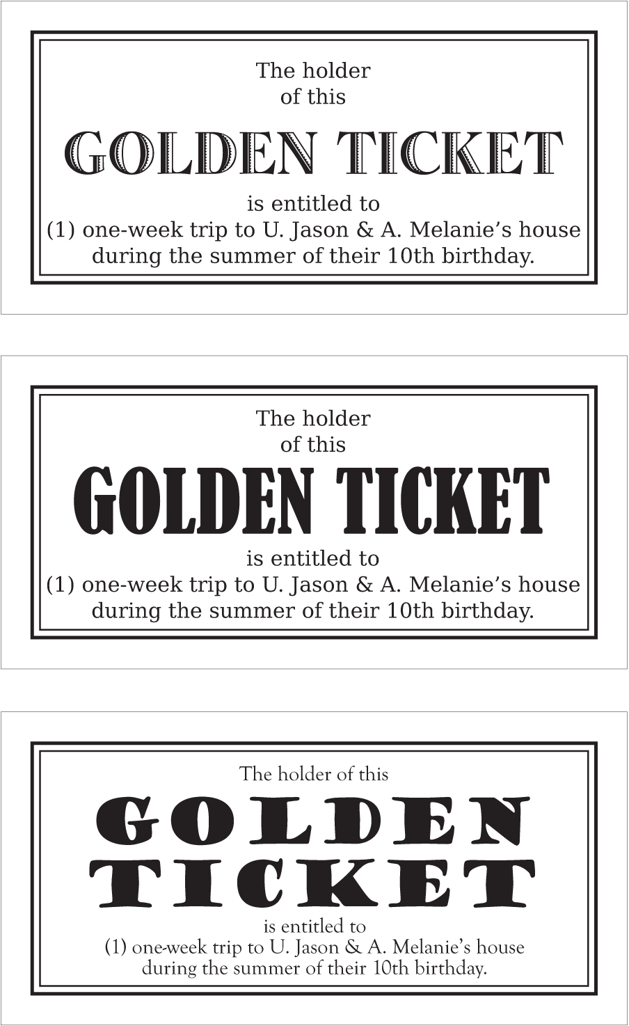 golden ticket � jason patz