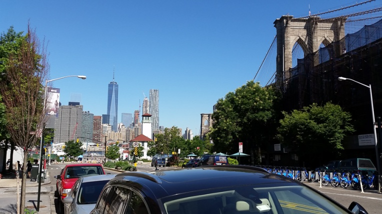 First view of Manhattan after we got off the subway. We even got to share some space with the Brooklyn Bridge.