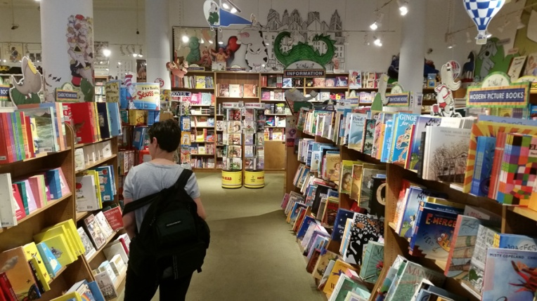 Row after row of children's books.