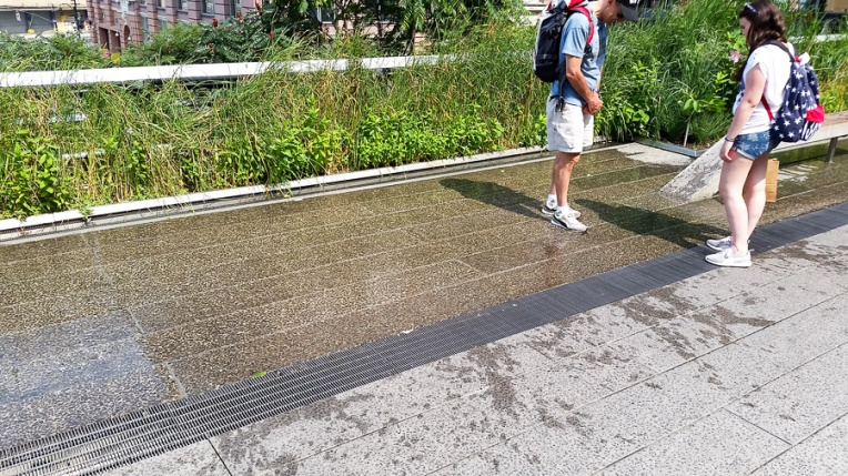 A cool fountain. Water bubbles out of the far slit, runs across the pavement, and into the near grate.