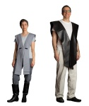 Tabard assembly drapes over shoulders and is held in place with Velcro at the shoulder seam of the shirt.